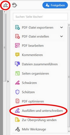 Adobe Reader Seitenleiste